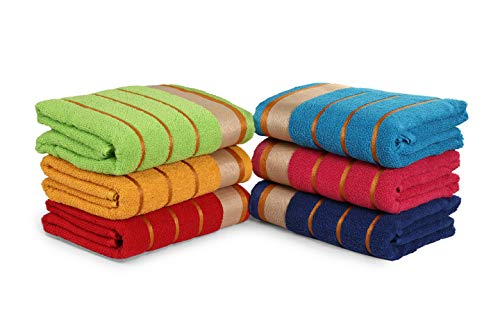 100% Cotton Bath Towels, Set of 6, Three-Line-Extra-Absorbent-Cotton, Size (27 X 54), Random Color Assorted Style, Light Weight, Quick Dry Best for Parties and Guests