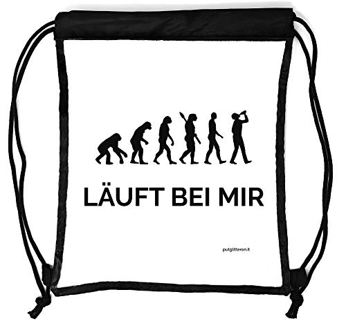 clapur Rucksack durchsichtig, transparenter Turn-Beutel für Festival, Konzert, Party Clear Secure Safe Bag Aufdruck: Läuft bei Mir