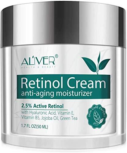 Retinol-Creme für Gesicht, Hals und Ausschnitt, Feuchtigkeitscreme für Nacht- und Tagesgesichtscreme, Anti-Falten-Creme mit 2,5% Retinol und Hyaluronsäure, Vitamin E Vitamin B5, Jojobaöl