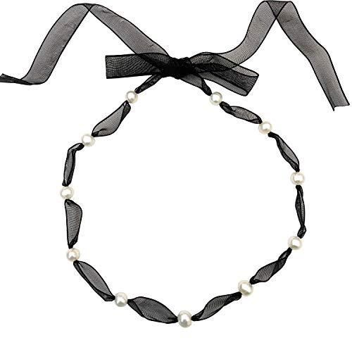 LEGITTA Damen Perle Kette Süßwasser Zuchtperlen Perlenkette Choker Halskette mit echten Perlen weiß Geschenk Schmuck für Frauen Mädchen