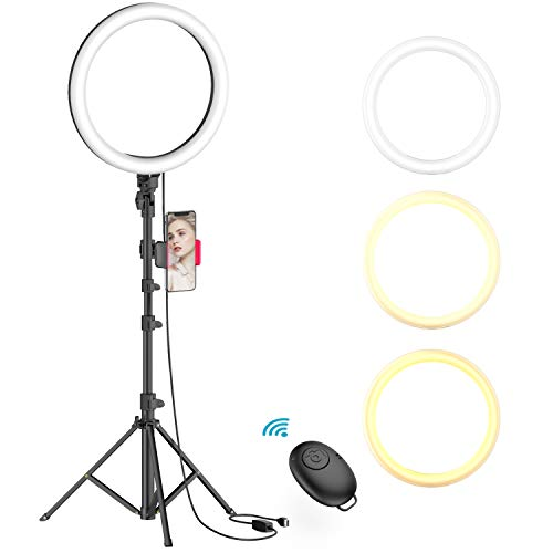 10' Selfie Ring Light with Tripod Stand & Phone Holder for Live Stream/Makeup, Dimmable Led Camera...