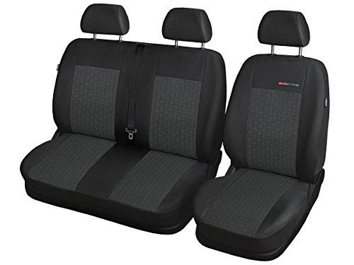 Volkswagen T6 Sitzbezüge nach Maß Autoplanen perfekte Passform Schonbezüge Sitzschoner Velour + Strickpolster ®Auto-schmuck (2+1 p1)
