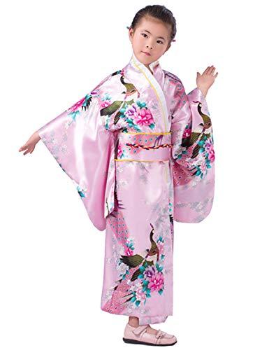 Japanese Traditional Dress Kimono Robe for Kids Girls Costume(Pink150cm) 10-12Y