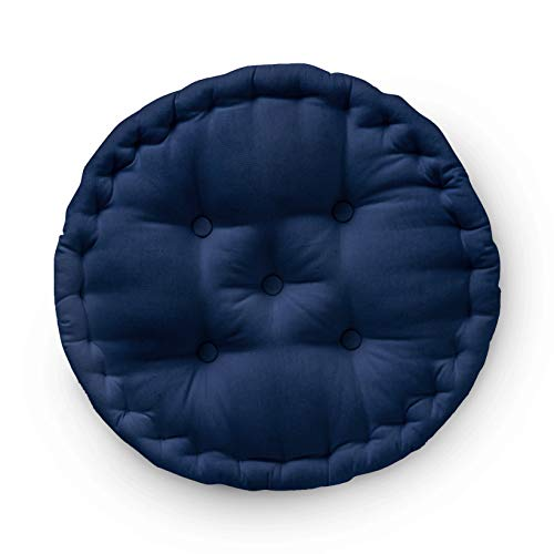 Encasa Homes Round Floor Cushions 40 x 40 x 8 cm – Scotch Blue – Solid Dyed Canvas with Cotton Filler, Large Size for Seating, Meditation, Pooja, Guests at Home, Living Room, Bedroom, Outdoor