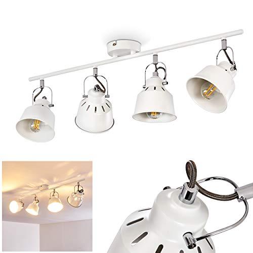 Deckenleuchte Safari, Deckenlampe aus Metall in Weiß, 4-flammig, mit verstellbaren Strahlern, 4 x E14-Fassung, max. 40 Watt, Spot im Retro/Vintage Design, für LED Leuchtmittel geeignet