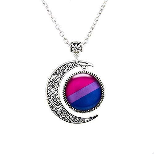 Bisexual Pride Stud Moon Necklace,Bisexual Jewelry,Pride Flag Blue Purple Pink Moon Necklace