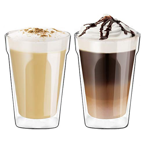 Ecooe Doppelwandige Cappuccino Tassen Glaser Latte Macchiato Glaser Set Trinkgläser Kaffeeglas 2-teiliges 350ml (Volle Kapazität) φ8.9 * 13cm