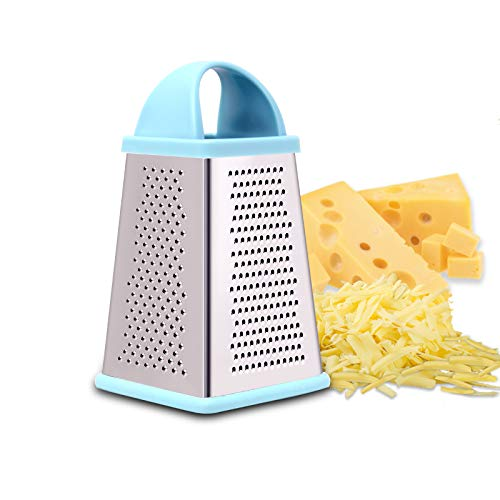 Professional Box Cheese Grater Graters for Kitchen Stainless Steel and Shredder with 4 Sides Best for Parmesan Cheese Vegetables Ginger Food and Moreblue