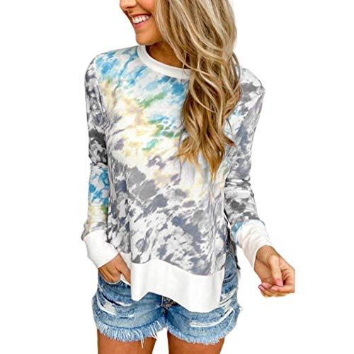 Free Venus Damen Tie Dye Gedruckt Patchwork Sweatshirt Langarm Pullover Tops Bluse...