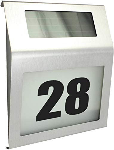 com-four® Edelstahl Solar LED Hausnummerbeleuchtung - 4 LEDs mit Zahlen und Buchstaben