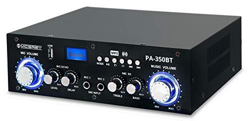 McGrey PA-350BT Bluetooth-eindversterker - met USB/MP3-speler 200 watt vermogen - twee microfooningangen voor karaokefunctie - USB-poort en cinch-ingang - ideaal voor partykelders en karaoke feestjes