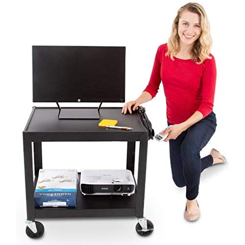 Line Leader 26 Inch 2 Shelf Audio Visual Cart - Multimedia AV Cart with UL-Listed 15 Foot Power Cord and 3 Outlets – Media Cart for Projectors, Printers and Other Electronics (Black / 24 x 26 x 18)