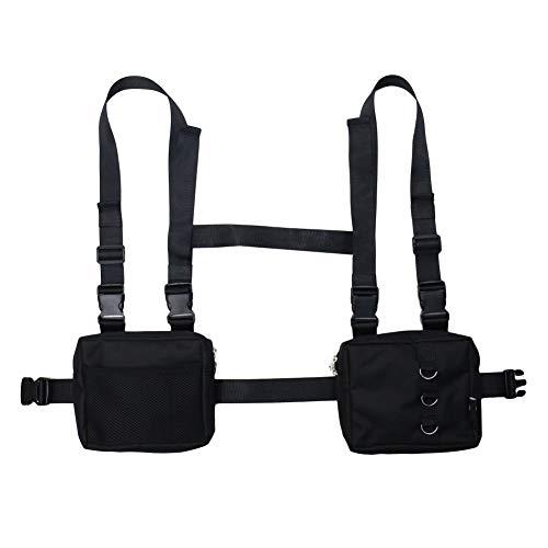 NEDVI Chest Rig Bag Tactical Waist Packs Bag Hip Bag for Men Women Adjustable Functional Shoulder Bags Chest Bag,Black