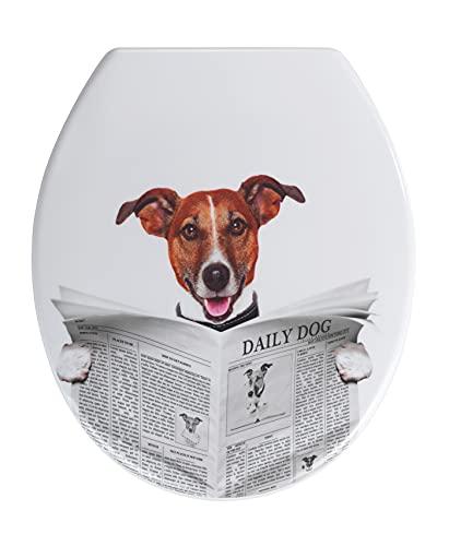 WENKO WC-Sitz Daily Dog - Toilettensitz, rostfreie Edelstahlbefestigung, Duroplast, 37.5 x 45 cm, Mehrfarbig