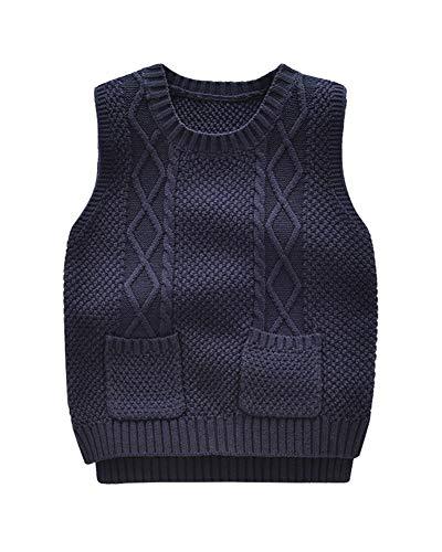 Niños Niñas Chaleco De Punto Cuello Redondo Sin Mangas Jersey Suéter Pullover