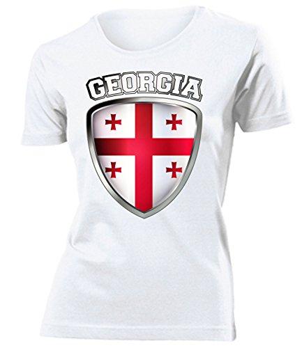 Georgien Georgia Fan t Shirt Artikel 4739 Fuss Ball World Cup Jersey EM 2020 WM 2022 Trikot Look Flagge Fahne Team Frauen Damen Mädchen M