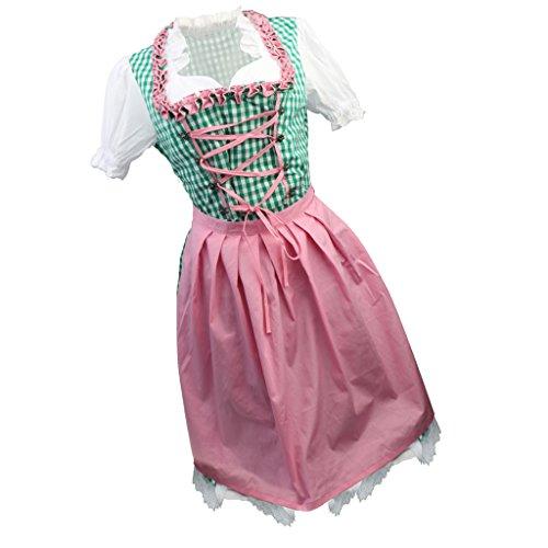 Baoblaze Oktoberfest Karneval Traditionelle Deutsche Bier Damen Wench Kostüm Rosa Schürze Gingham Dirndl Kleid - Grün, rosa, L