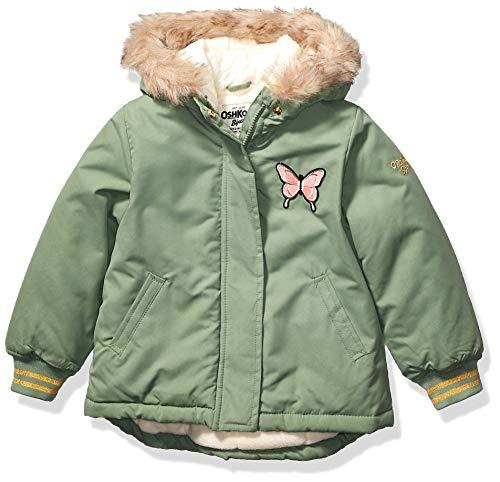 Osh Kosh Girls' Toddler Pretty Cool Parka Jacket, Green Butterfly, 2T