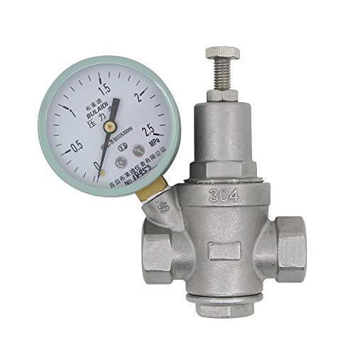 valvola riduttore pressione con manometro - femmina 1/2 3/4 1 1-1/4 1-1/2 2 pollice - senza piombo acciaio inossidabile - regolatore di pressione acqua inox (DN15-1/2 pollice)
