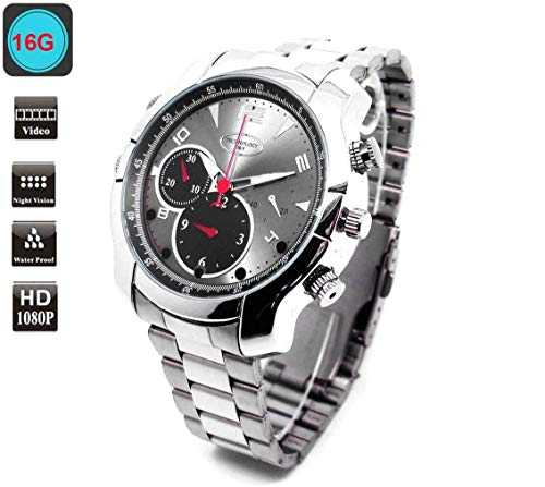 LemoCam 16G Cámara Reloj Pulsera Cámara 1080P Reloj espía Cámara reloj portátil
