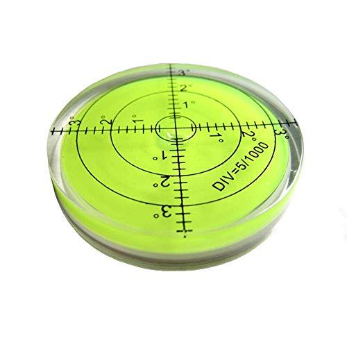Umei - Livella a bolla orizzontale ad alta precisione, alloggiamento in acrilico, forma rotonda, 60 x 12 mm, per strumenti di misurazione e tribrachi, precisione 0,5 mm, colore: verde