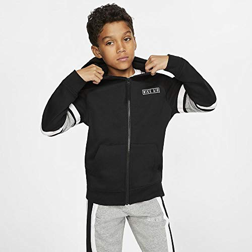 Nike Jungen Hoody Air Full-Zip, Black/Dark Grey Heather/White/White, S, BV3590-010