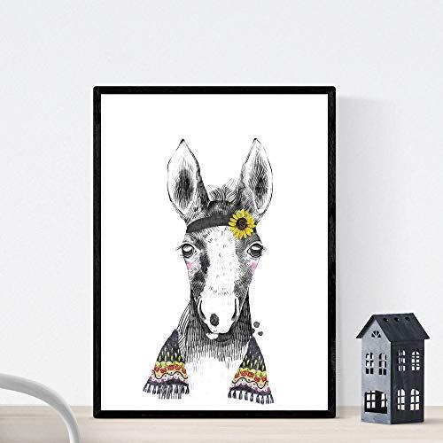 Nacnic Lámina Infantil Caballo Bebe con pañuelo y Flores Poster Animales Infantiles Tamaño A3 Sin Marco