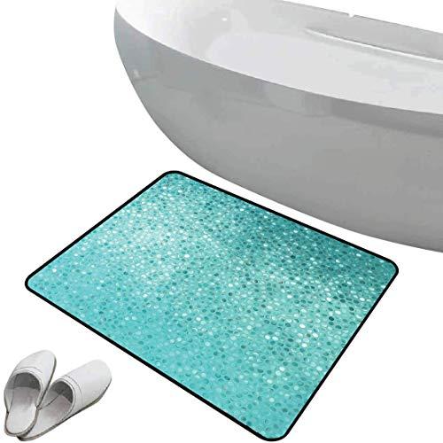 Alfombra de baño antideslizante de felpudo Turquesa Alfombrilla goma antideslizante Las baldosas de mosaico de punto pequeño forman el diseño de la diversión ingeniosa creativa clásica clásica,blanco
