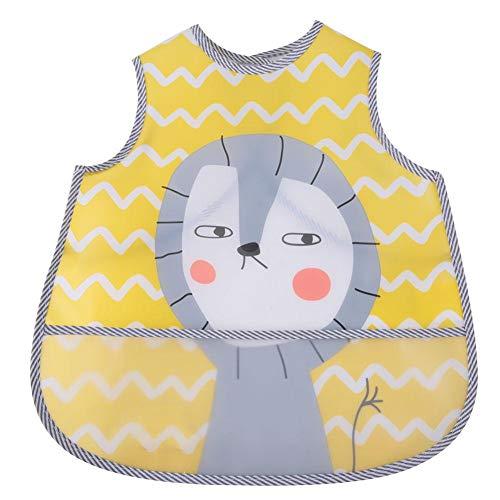 Babero bebé, caricatura impermeable, sin mangas
