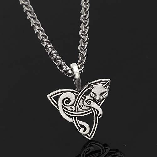 CNZXCO Brazalete Vikingo, Pulsera Vikinga Hombre, Amuletos De La Suerte Y Proteccion, Collar Colgante De La Cabeza del Lobo De La Serie Eslava, Largo Accesorio (Color : Silver)