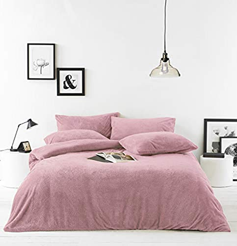 Furn Sherpa Duvet Cover Set – Polyester-Blush Pink-Double Size