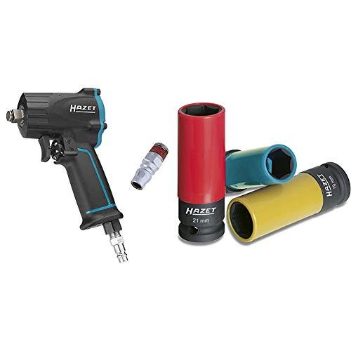 HAZET Druckluft-Schlagschrauber (extra kurz (92 mm) I max. Lösemoment 1100Nm, Vierkant 12,5 mm (1/2 Zoll)) & Steckschlüssel-Satz (1/2 Zoll (12,5 mm) Vierkantantrieb, mit Kunststoffhülse)