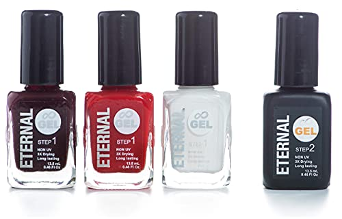 Eternal Gel Nail Polish Set – Collection of 3 Long Lasting Colors and 1 Gel Top Coat (Classic Must Have)