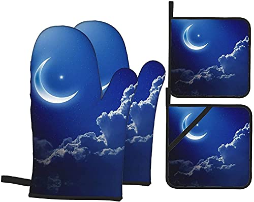 Night Sky - Juego de 4 manoplas para horno y ollas resistentes al calor, guantes de microondas para hornear y cocinar a la parrilla, color negro