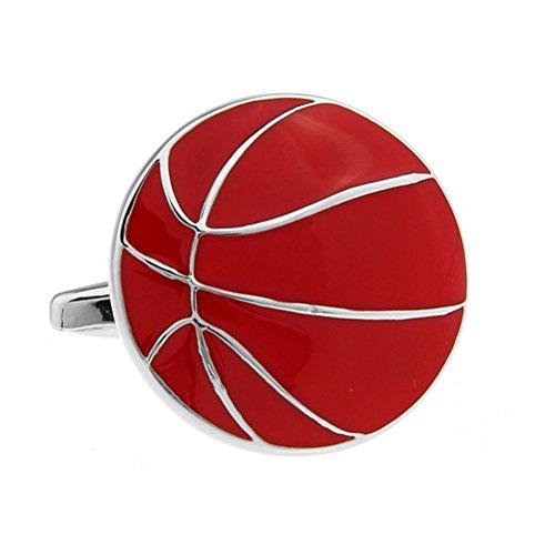 Sport Basketball Schwarz Farbe Beschichtung Weiße Stahl Manschettenknöpfe (rot)