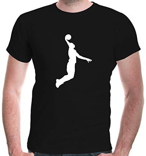 buXsbaum® Herren Unisex Kurzarm T-Shirt bedruckt Basketball Dunker | Basketballschuhe Fanshirt Trikot | XL black-white Schwarz