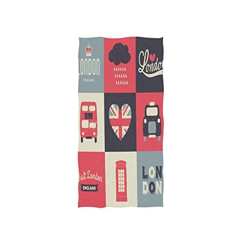 Weled Toalla de Mano Vintage Londres Big Ben Inglaterra Bandera Súper Absorbente Baño Toallas de Playa para Gimnasio Viaje Fitness SPA Hogar Cocina