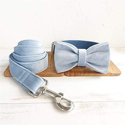 WATPET Collares de Entrenamiento de Perros Collar de Perro Juego de Cordones Ajustable de Terciopelo Grueso Mascota Cuello Corbata de Lazo para Perros Grandes (Color : Blue Thick Velvet, Size : XL)
