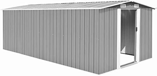 Caseta de jardín al aire libre sala de almacenamiento de herramientas de metal casa de jardín herramienta metálica cobertizo para almacenar y puerta doble efecto invernadero,Grey-257 x 497 x 178 cm