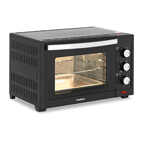 bredeco Horno Mini Minihorno BCMO-30L (Bandeja y rejilla incluidas, Temperatura de 100-230 °C, 1600 W, Volumen de 30 L, 5 programas)