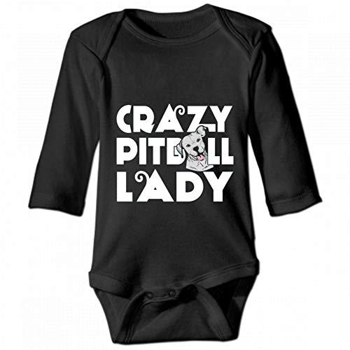 Crazy Pitbull Lady Unisex Baby Round Neck Long Sleeve Bodysuit, Fashion Casual Baby Climbing Suit 6M