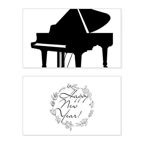 Piano Klassieke Muziek Instrument Patroon Nieuwjaar Card Herdenkingsbericht Zegen