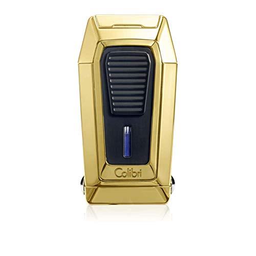 Colibri Quantum Triple Jet Polished Gold/Black Lighter with V-Cutter