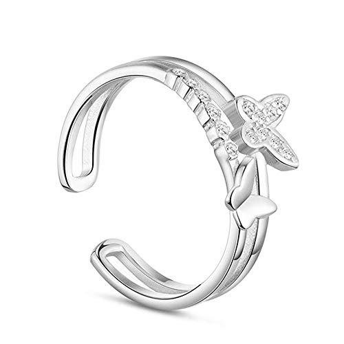 Chandler Anillo de mariposa para mujeres y niñas de plata 925 con circonita cúbica, anillo ajustable de la suerte, regalo de cumpleaños