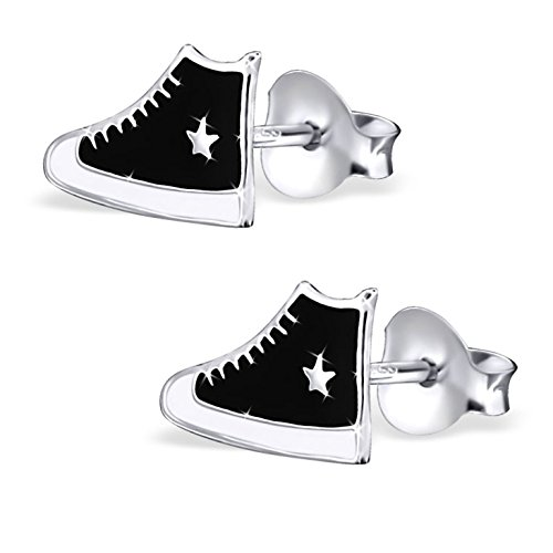 JAYARE Ohrringe Mädchen Turnschuhe Sneaker 925 Sterling Silber schwarz Kinder Ohrstecker