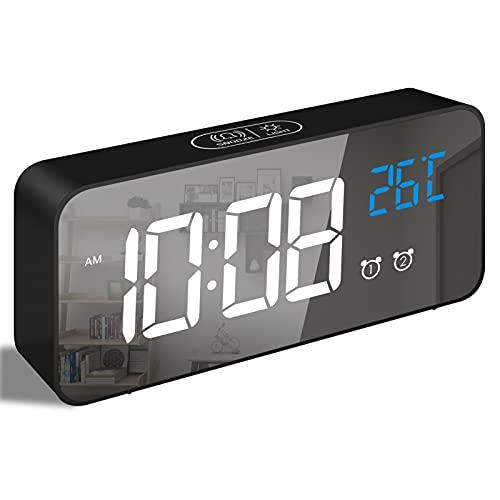 Bigmeda Reloj Digital, Reloj Despertador Digital con Pantalla LED de Temperatura, Reloj...