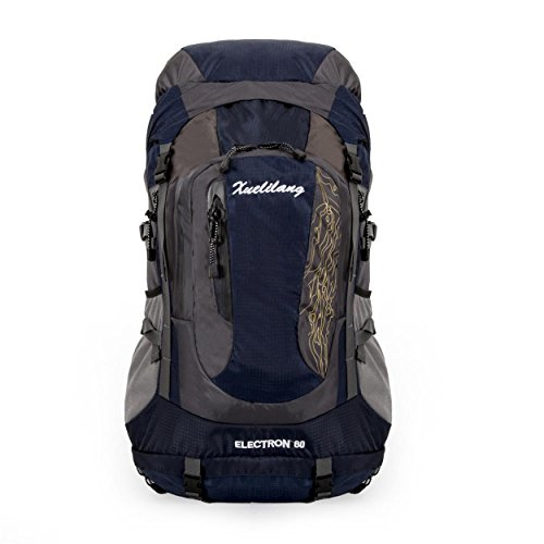 XY-QXZB Sac à dos 60L, Sports de plein air Sac à dos à alpinisme portable de grande capacité, Randonnée pédestre Escalade mobile Sac à bandoulière multifonction 64x30x20cm , dark blue