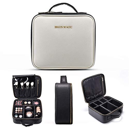 BEGIN MAGIC Train Malette de Maquillage Professionnel Beauty Case 3 Couche, Coffret Sac Trousse Cosmétique Organiseur pour Pinceaux de Maquillage Vernis à Ongles 26cmX24cmX10cm