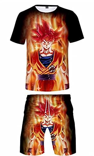 Dragon Ball Son Goku 3D Impreso Chándales Verano Manga Corta DBZ Cosplay Ropa Deportiva Conjuntos Anime Dragonball Super Saiyan Broly Goku Camiseta y Pantalones Cortos, Son Goku 04, M