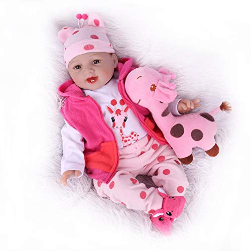 CHAREX Reborn Baby Dolls, 22 Inch Soft Vinly Weighted Body Girl Dolls with Giraffe Set, for Kids Age 3+